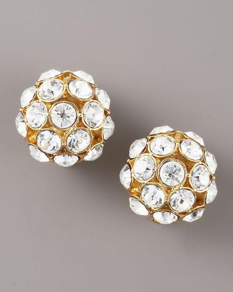 kate spade clip earrings in gold clear lyst