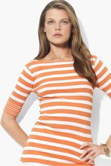 Lauren by Ralph Lauren Bateau Neck Stripe Top - Lyst