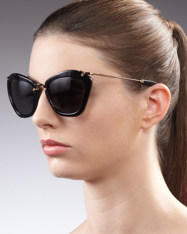 cb13fae19866 Miu Miu Catwalk Sunglasses in Black - Lyst