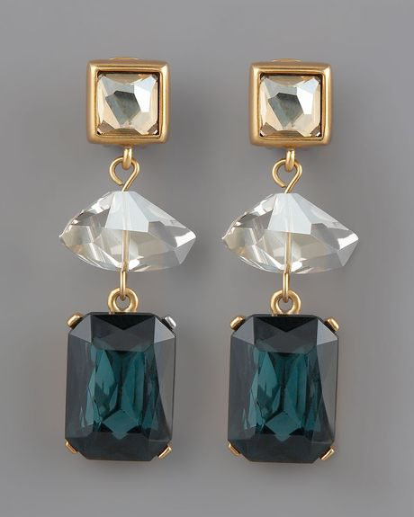 Oscar De La Renta Faceted Crystal Drop Earrings in Gold (one size) - Lyst
