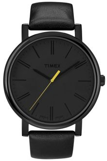 Timex® Womens Originals Easyreader Black Leather Strap 42mm T2n793at - Lyst