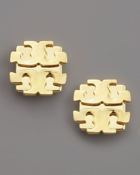 Tory Burch Logo Earrings Large in Gold - Lyst