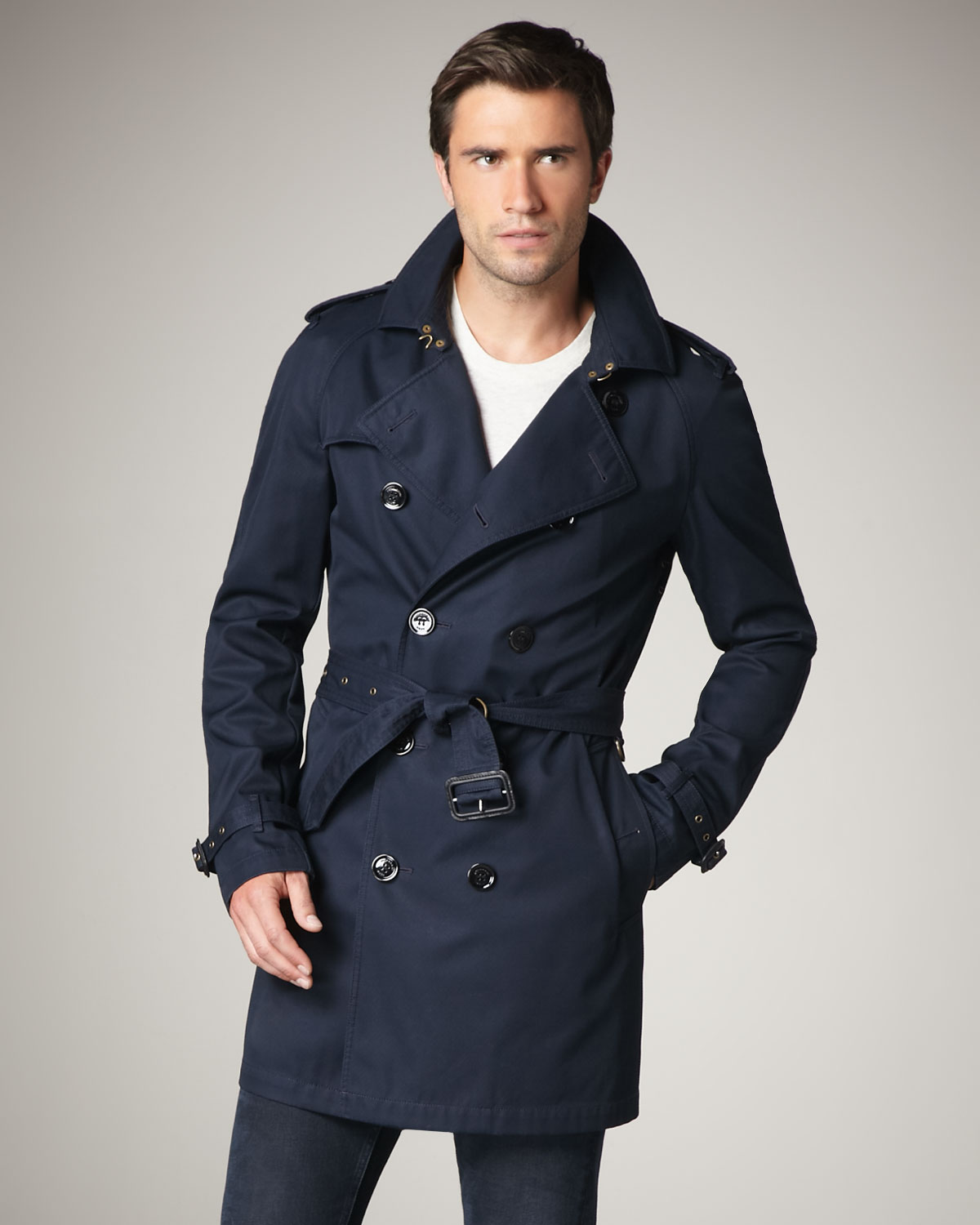 Burberry Brit Cotton Blend Trenchcoat In Blue For Men