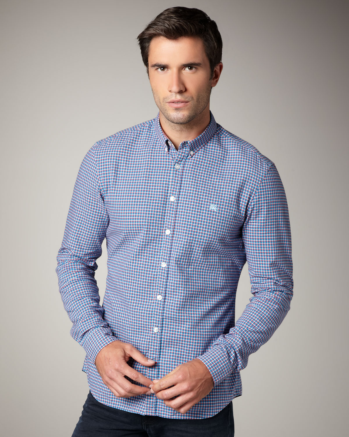 Lyst - Burberry brit Small-check Button-down Shirt in Blue for Men