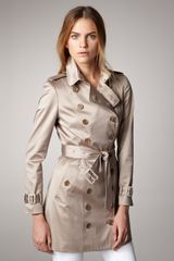 Burberry Sateen Trenchcoat - Lyst