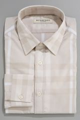 Burberry Tonal Check Dress Shirt, Beige - Lyst