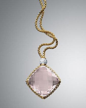 David Yurman Morganite Cushion On Point Necklace - Lyst