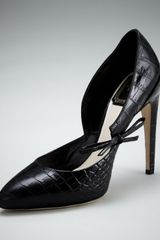 Dior Crocprint Bow Pump in Black - Lyst