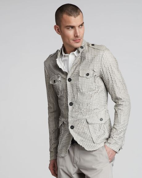 Dolce & Gabbana Perforated Leather Safari Jacket in Beige for Men (ltgray) - Lyst