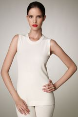 Donna Karan New York Sleeveless Cashmere Top, Ivory - Lyst