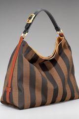 Fendi Striped Hobo in Brown (black) - Lyst