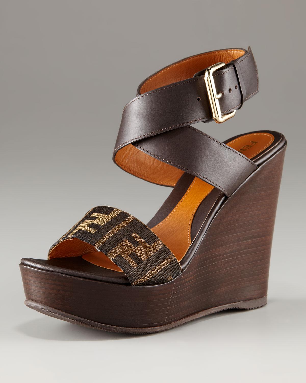 Fendi Zucca Slide Wedge Sandals cheap sale very cheap ivFnwwh