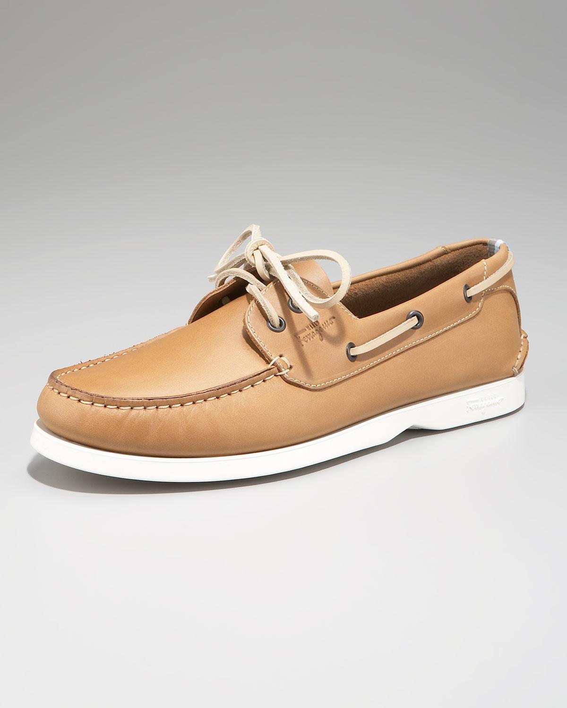 Ferragamo Boat Shoe, Camel in Natural for Men | Lyst