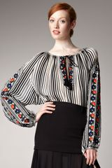 Jean Paul Gaultier Embroidered Peasant Blouse - Lyst