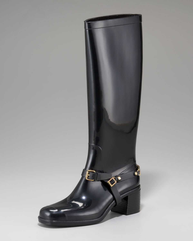 fa62e2d5a25 Jimmy Choo Chester Logo-Heel Rain Boot in Black - Lyst