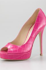 Jimmy Choo Embossed Leather Peep-toe Pump - Lyst