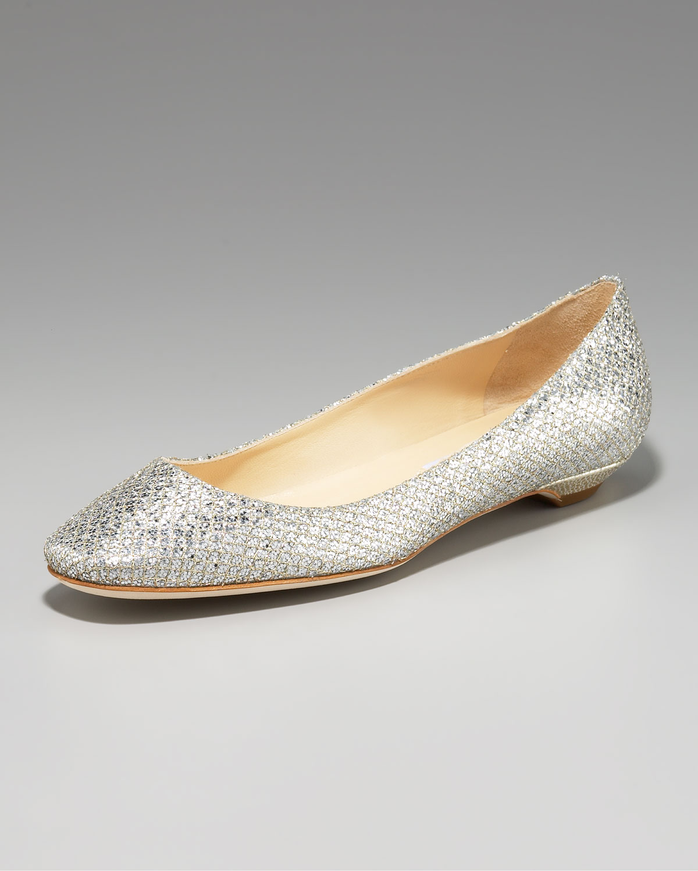 8fb24d0545e ... real lyst jimmy choo square toe flat silver in metallic 0d339 7d86c