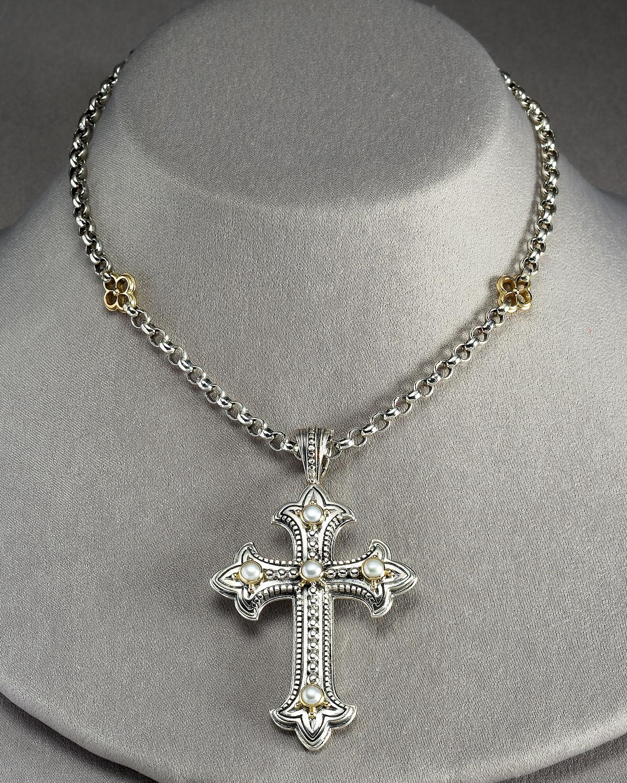 Konstantino Pearl Cross Pendant In White Lyst