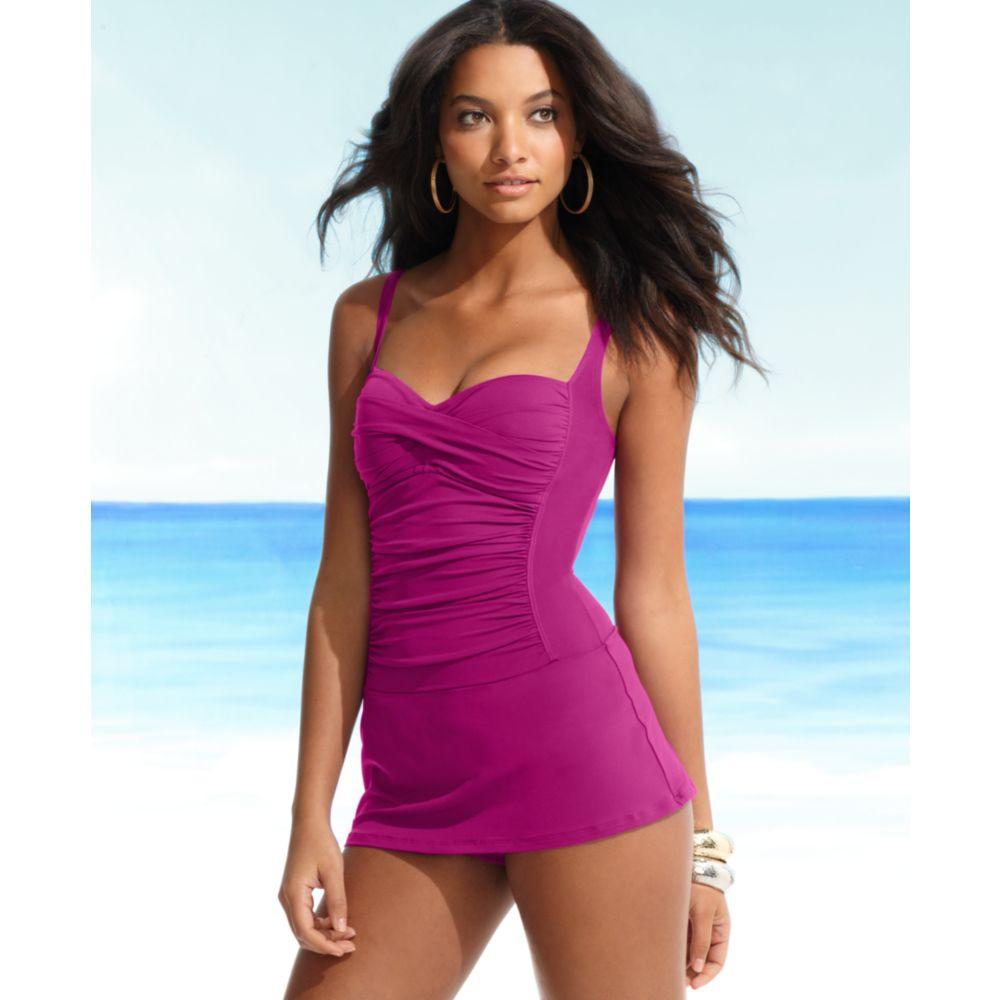 Lyst La Blanca One Piece Ruched Swimdress In Purple
