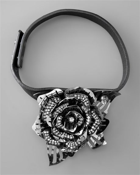 Lanvin Small Rose Necklace, Black in Black - Lyst