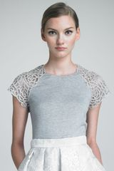 Lela Rose Shortsleeve Knit Top with Tulle Shoulders - Lyst