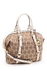 Michael by Michael Kors Medium Bedford Satchel Monogram, Beige/vanilla Monogram - Lyst