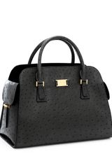 Michael Kors Gia Ostrich-embossed Leather Satchel, Black - Lyst