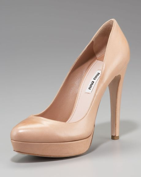 Miu Miu Leather Platform Pump, Nude in Beige (nude) - Lyst