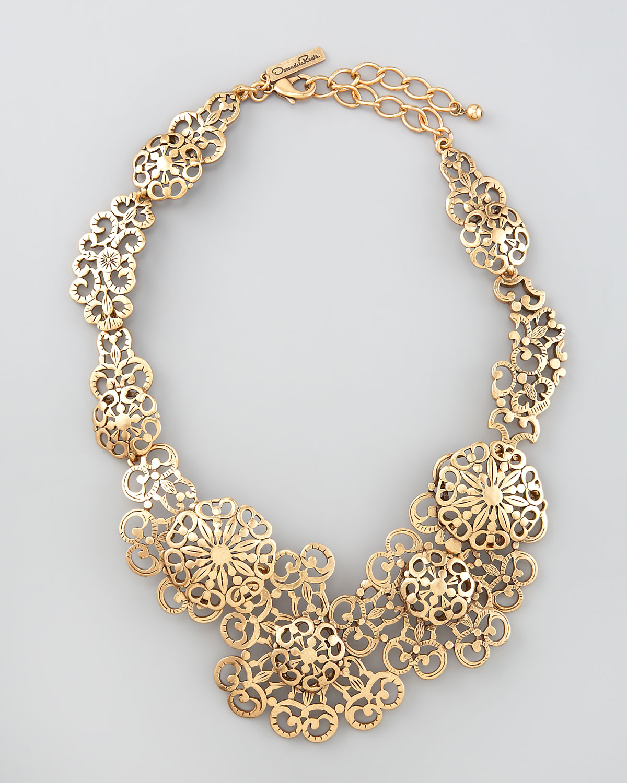 Lyst Oscar De La Renta Filigree Lace Necklace in Metallic