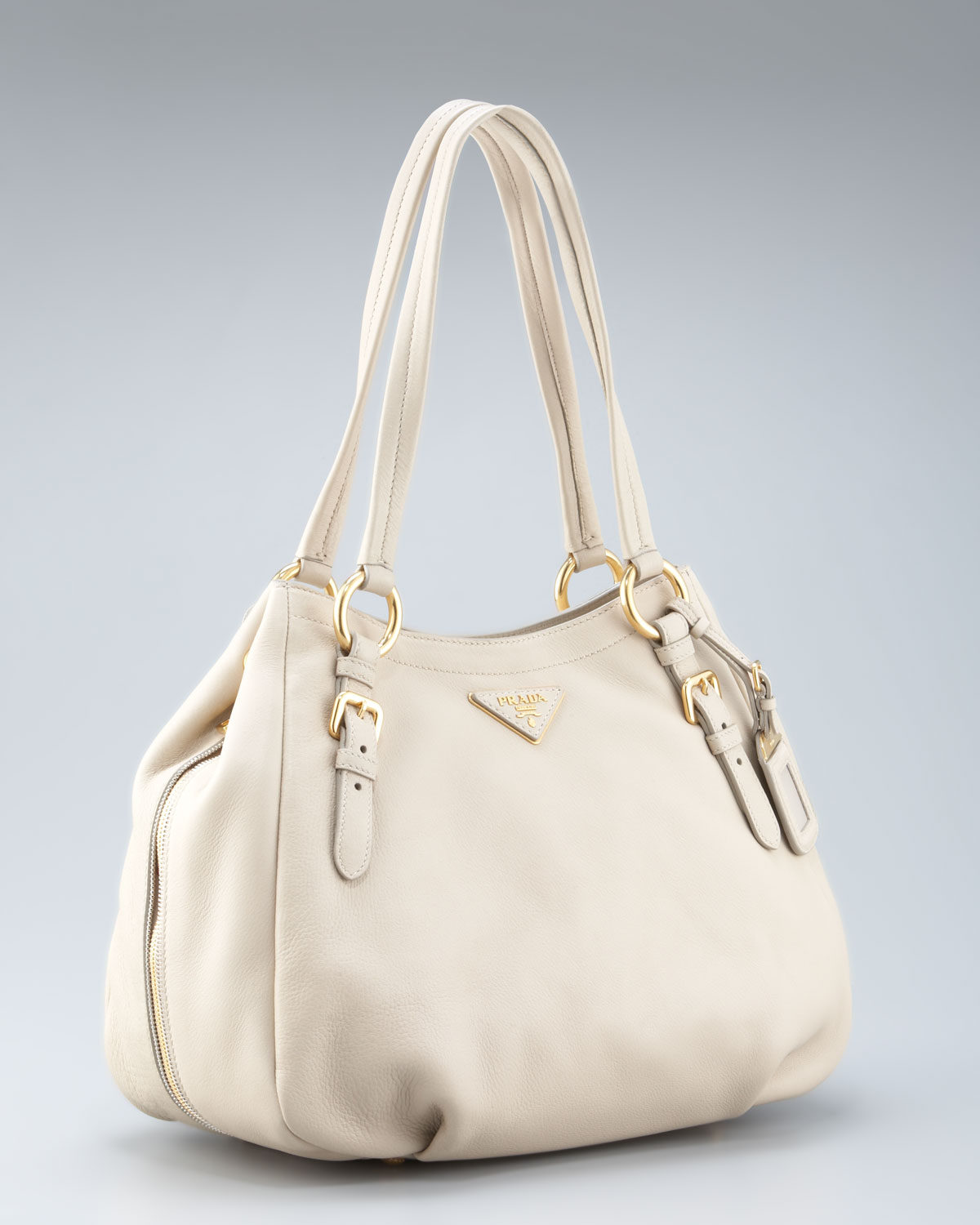 prada handbags for sale online - Prada Cervo Double-handle Hobo in Beige (ivory) | Lyst