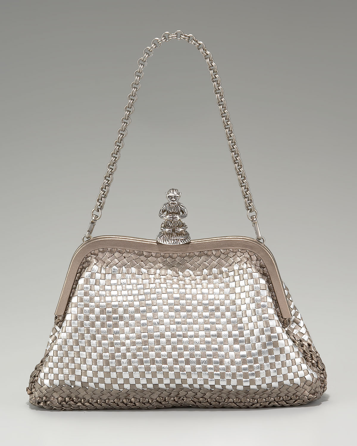 prada metallic evening bag