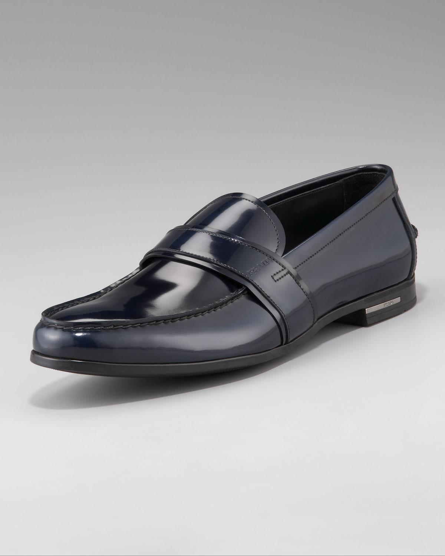 e7704d520b0 ... australia lyst prada spazzolato penny loafer in blue for men 0ec97 15c83