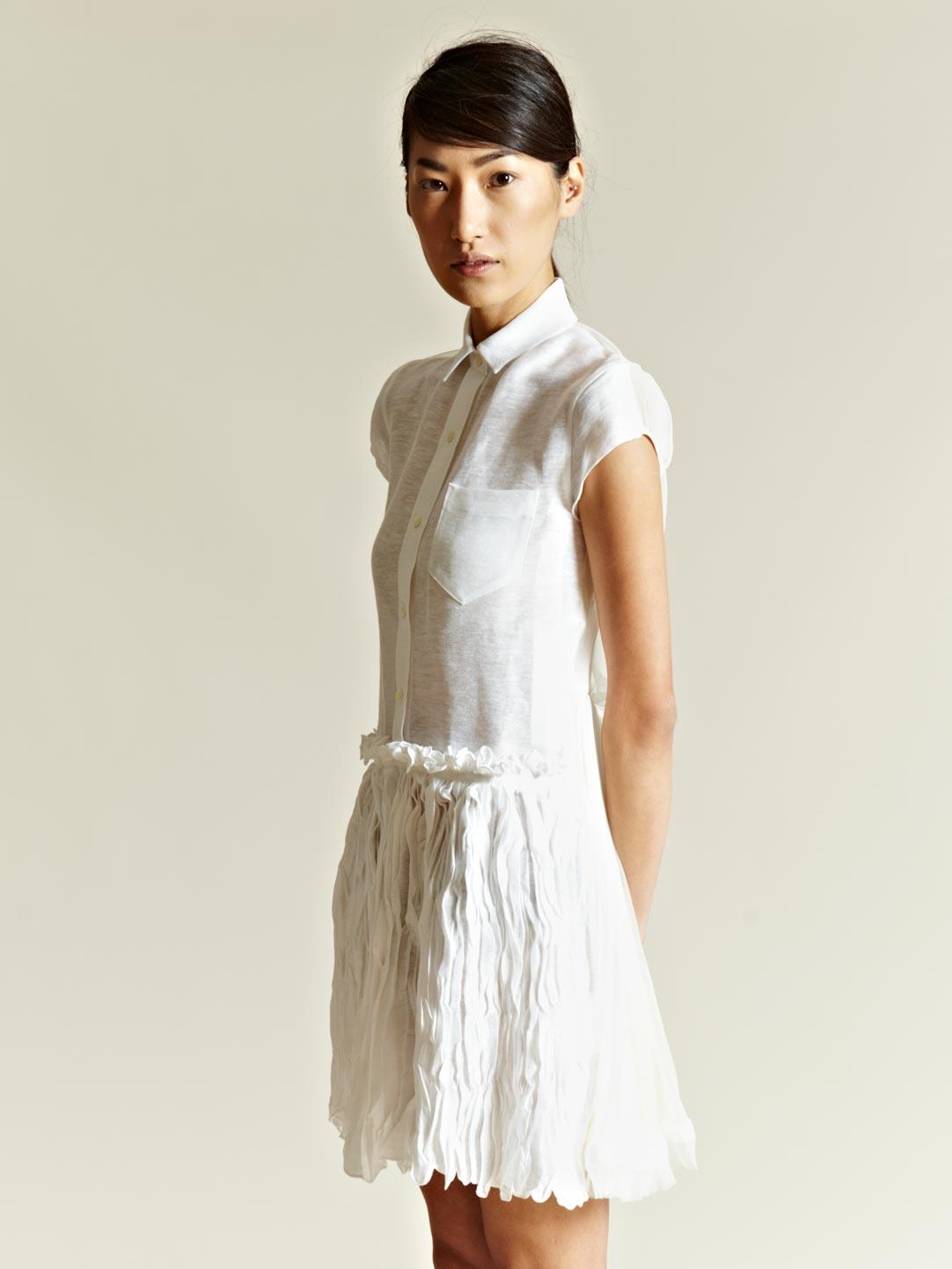 Sacai sacai womens linen short sleeved shirt dress in for White linen dress shirt