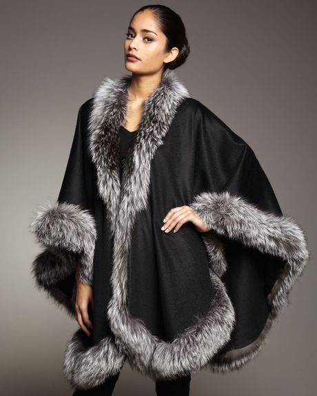 Sofia Cashmere Natural Silver Fox Fur Trimmed Cashmere Cape Black in Black (one size)