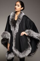 Sofia Cashmere Natural Silver Fox Fur Trimmed Cashmere Cape Black in Black (one size) - Lyst