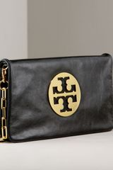 Tory Burch Reva Glazed Leather Clutch - Lyst