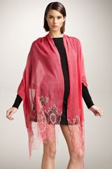 Valentino Metallic Lace Stole, Fragola in Red (fragola ord) - Lyst