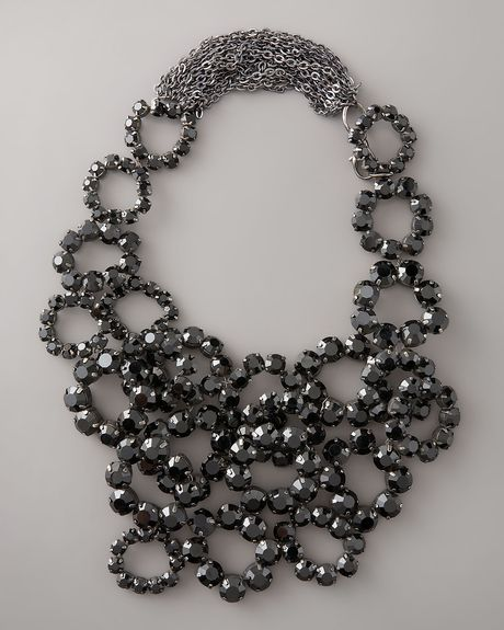 Vera Wang Crystal Bib Necklace in Black - Lyst