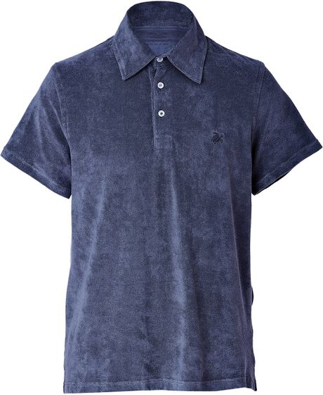 Vilebrequin navy terry cloth polo shirt in blue for men for Mens terry cloth polo shirt