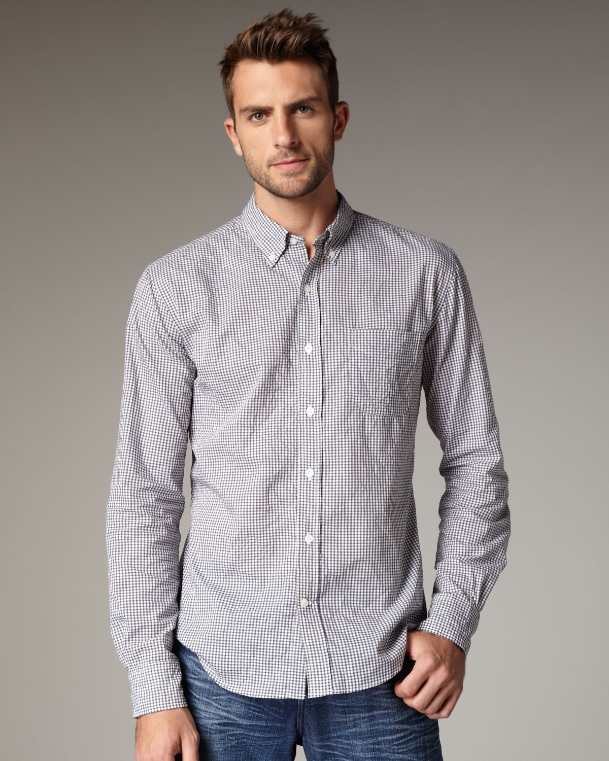 Vince gingham button down shirt in gray for men grey lyst for Grey button down shirt