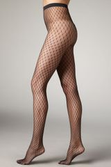 Wolford Clara Dot Fishnet Tights - Lyst