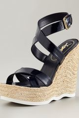 Saint Laurent Ankle-strap Espadrille Wedge - Lyst