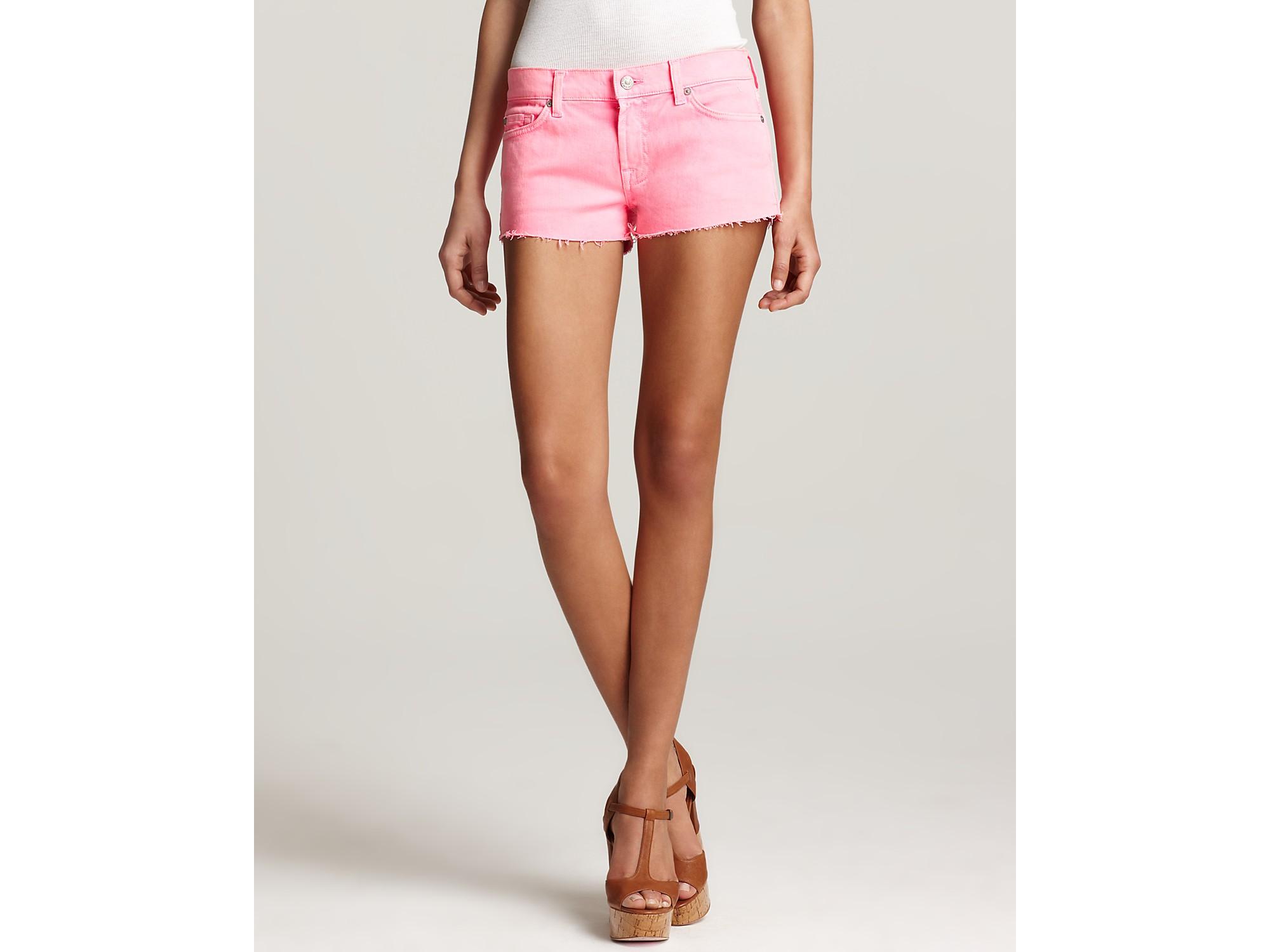 7 for all mankind Shorts Neon Cutoff Denim Shorts in Pink   Lyst