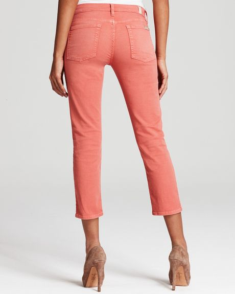 7 For All Mankind Jeans Twill Crop Skinny Jeans In Light