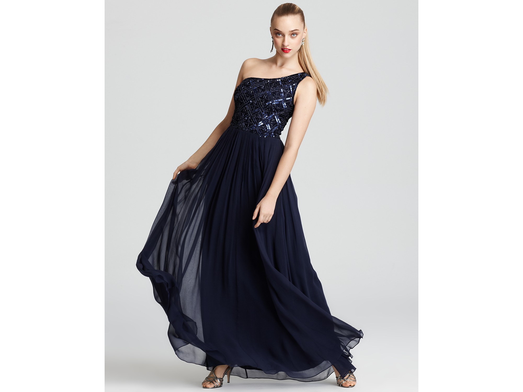 Aidan mattox Gown Sequin One Shoulder in Black | Lyst