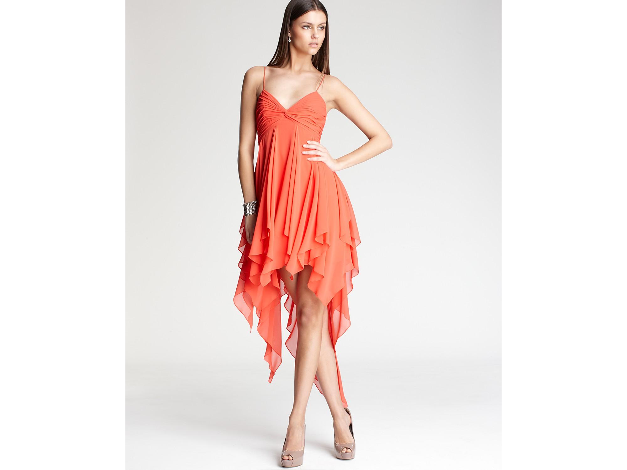 Lyst Aidan Mattox Handkerchief Dress In Orange