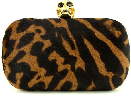 Alexander Mcqueen Leopard Pony Hair Skull Clutch in Animal (leopard) - Lyst