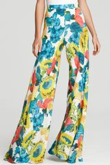 Alice + Olivia Pants Printed Wide Leg - Lyst