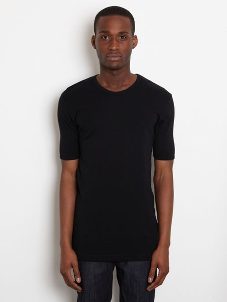 Comme Des Garçons Plain Cotton Rib Tshirt in Black for Men - Lyst