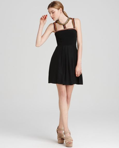 Cynthia Steffe Maddie Silk Beaded Necklace Dress  in Black (rich black) - Lyst